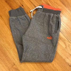 Boys PUMA Gray & Orange Sweatpants Joggers Sz L